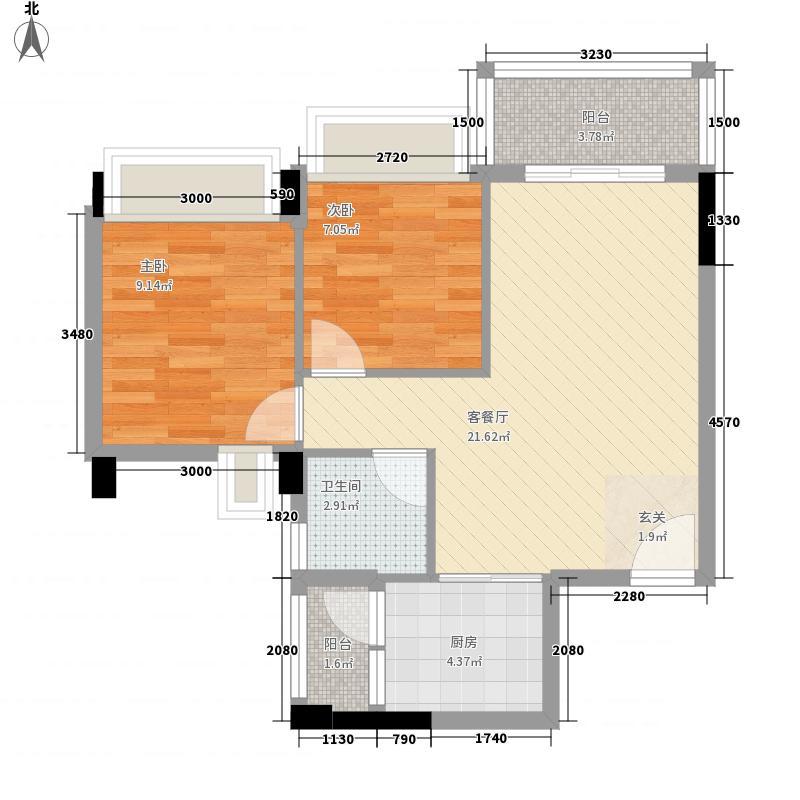 永江花园香溪2室1厅1卫1厨50.47㎡户型图