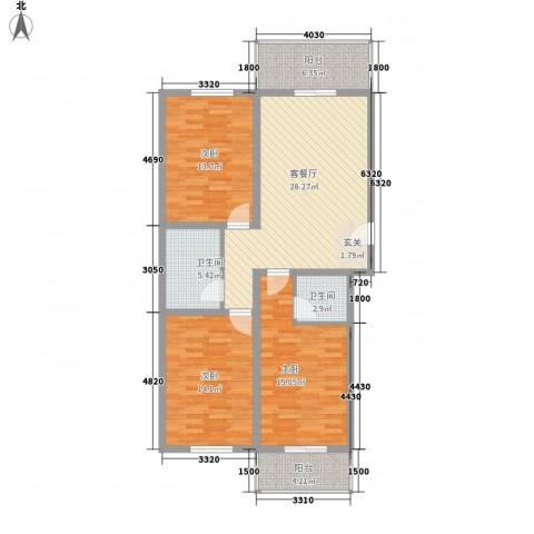 金山国际3室1厅2卫0厨125.00㎡户型图
