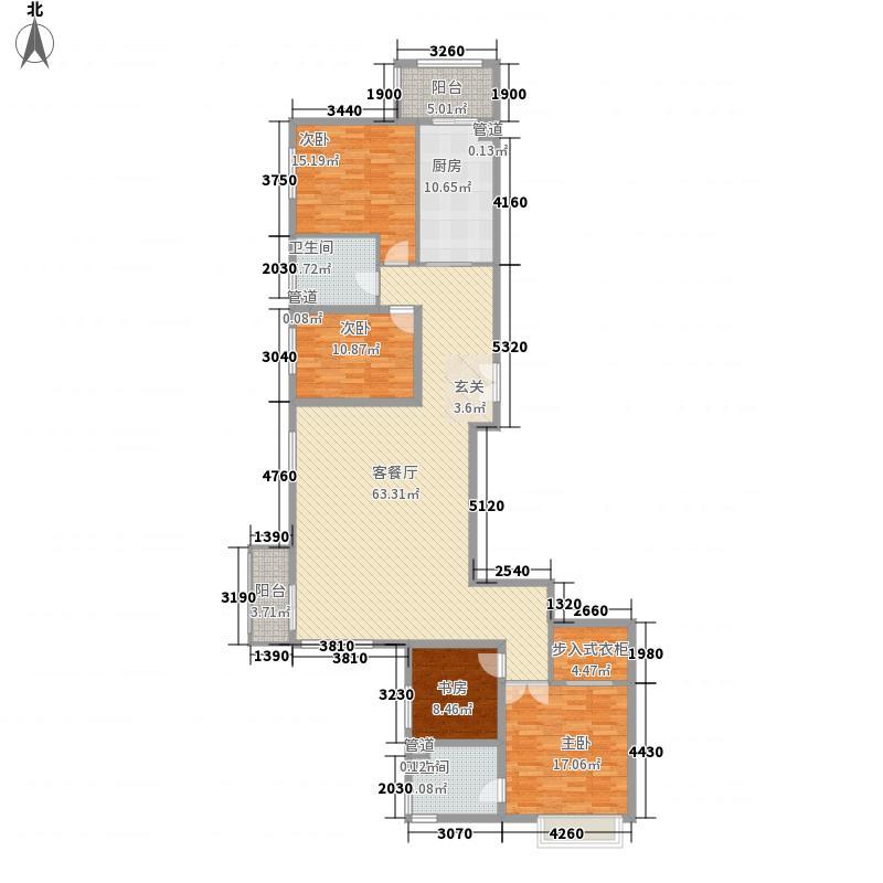 北京华侨城211.61㎡二期A(6)户型4室2厅2卫1厨
