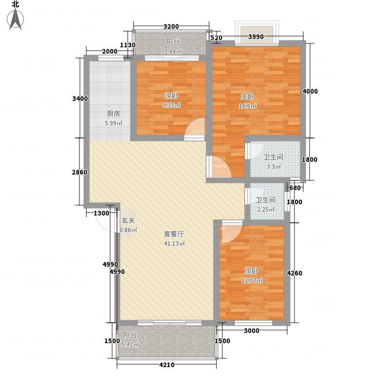 新洲花园户型3室2厅2卫1厨