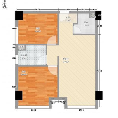 太古城2室1厅1卫1厨57.12㎡户型图
