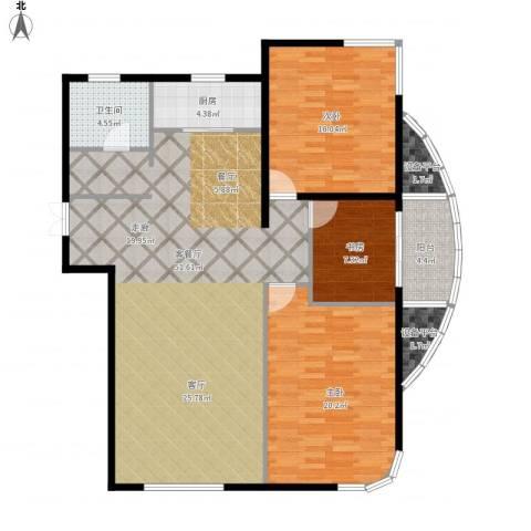 君豪绿园3室1厅1卫1厨154.00㎡户型图