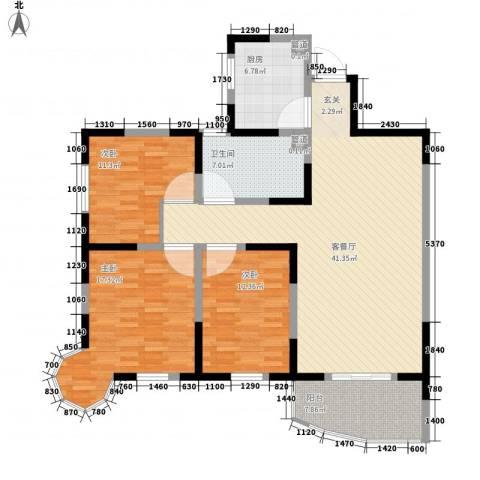 华安小区3室1厅1卫1厨104.20㎡户型图