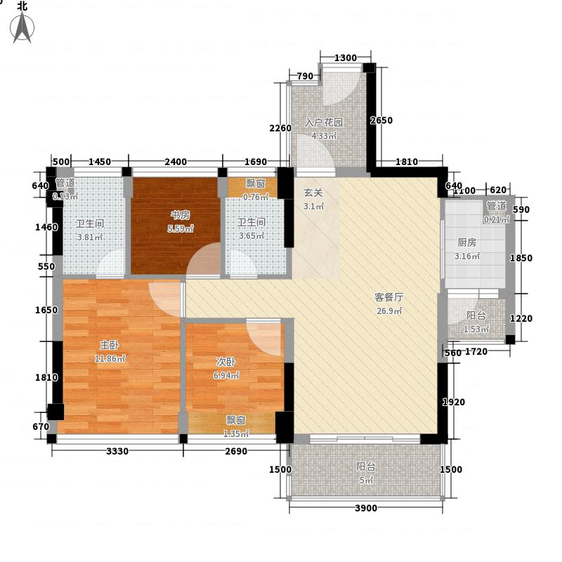 富凯国际公馆3室1厅2卫1厨105.00㎡户型图