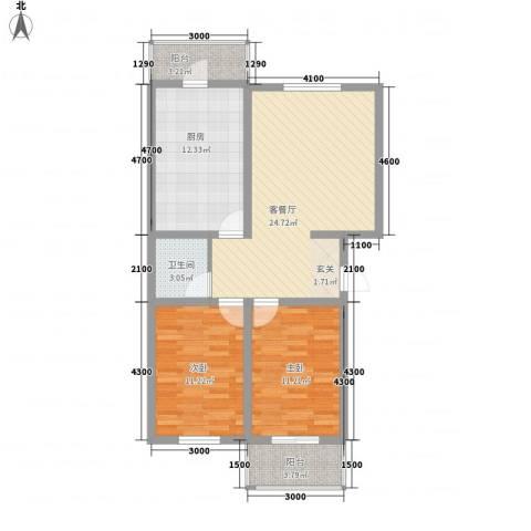 龙凤嘉苑三期2室1厅1卫1厨89.00㎡户型图