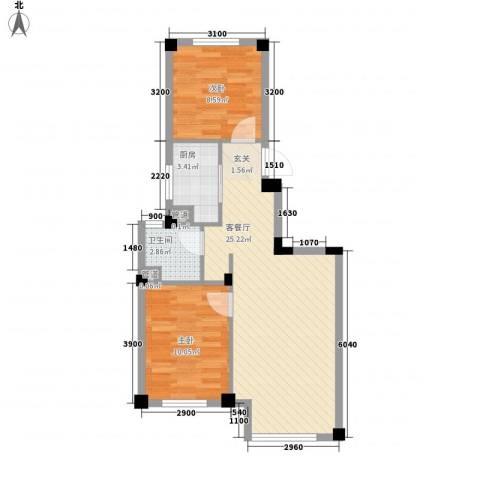 国民院子2室1厅1卫1厨50.29㎡户型图