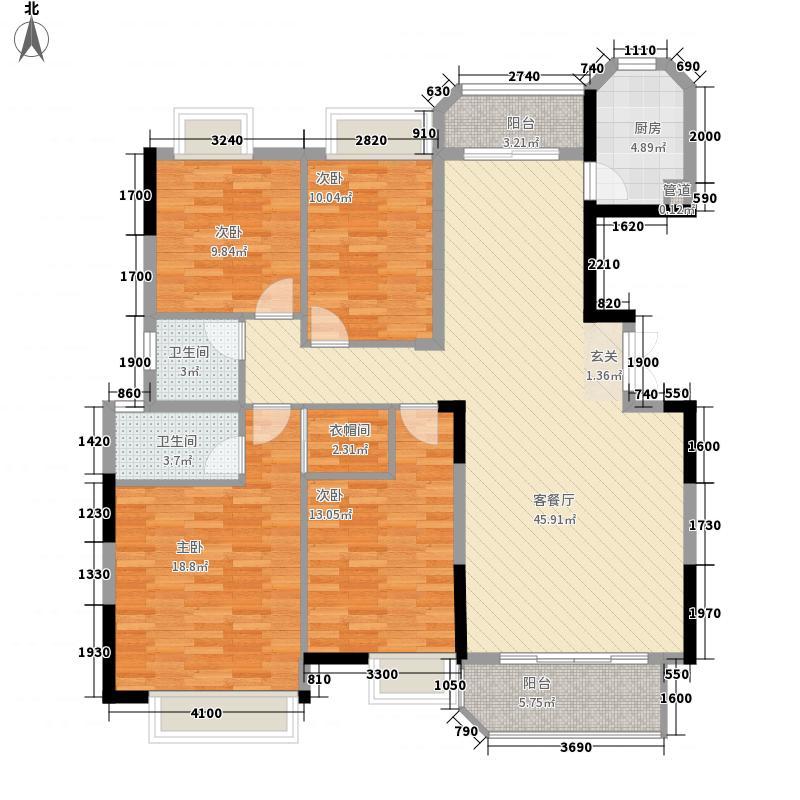 天俊华府4室1厅2卫1厨156.00㎡户型图