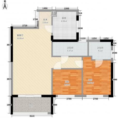 锦昌苑2室1厅2卫1厨107.00㎡户型图