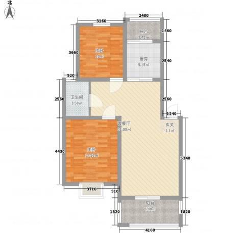 锦昌苑2室1厅1卫1厨106.00㎡户型图