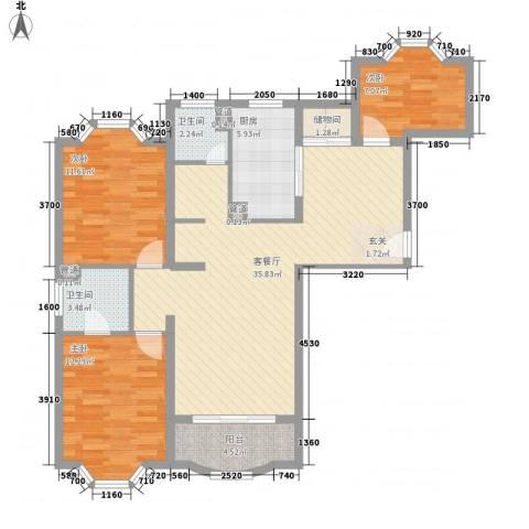 虹康花苑二期3室1厅2卫1厨125.00㎡户型图