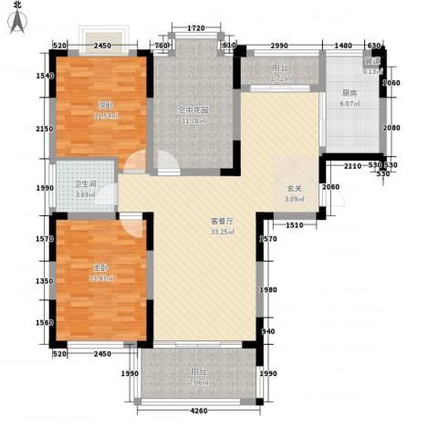名邦西城秀里2室1厅1卫1厨104.00㎡户型图