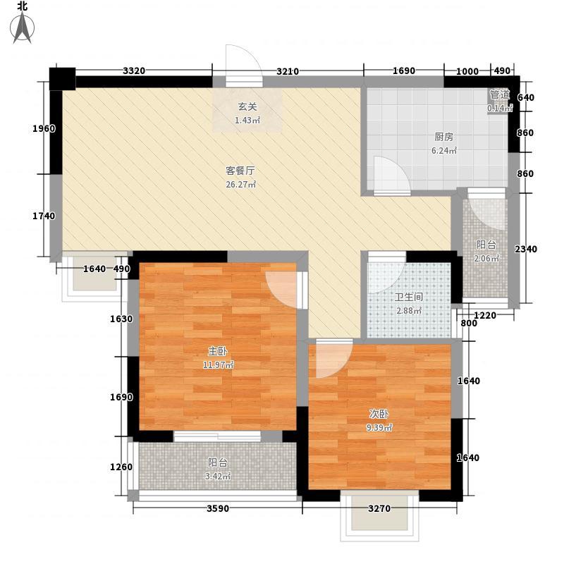 北美印象9#L90户型2室2厅1卫1厨