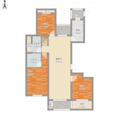 九龙华府3室1厅2卫1厨144.00㎡户型图