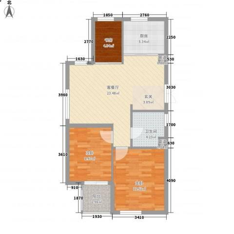 陈渡苑3室1厅1卫1厨88.00㎡户型图
