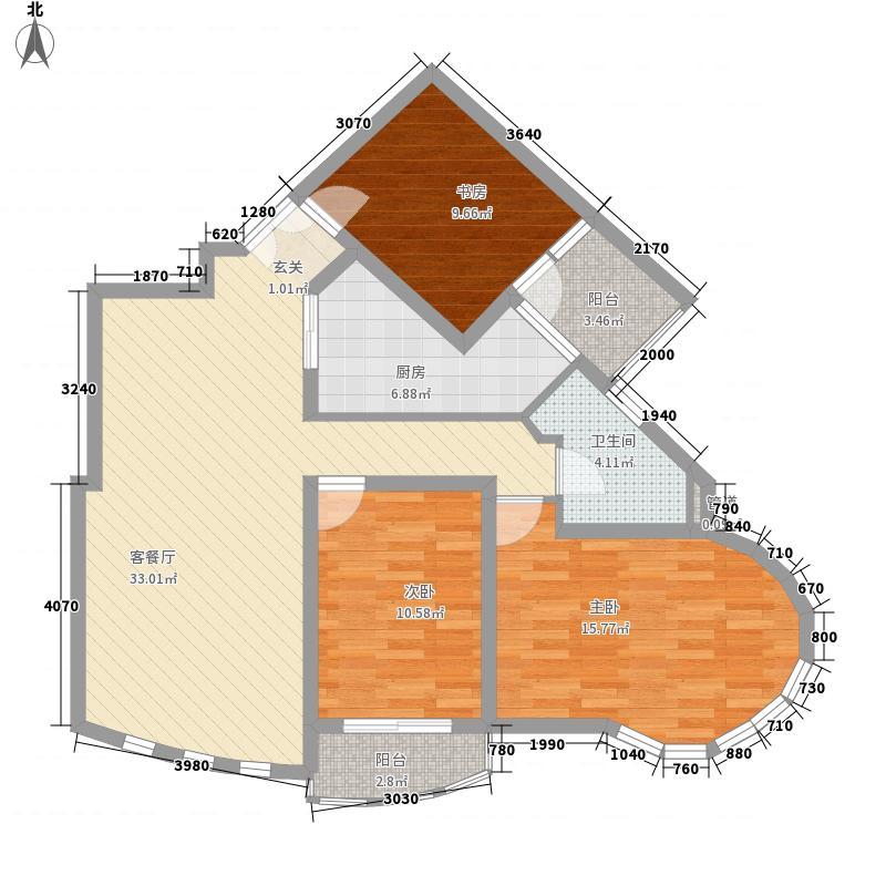 天和苑127.83㎡高层K户型3室2厅1卫1厨