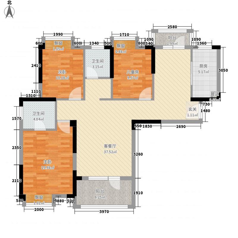 王家湾中央生活区124.00㎡15号楼B3'户型3室2厅2卫1厨