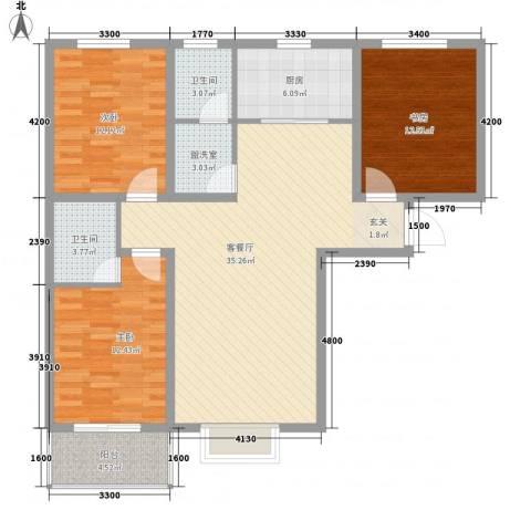 通衢苑3室1厅2卫1厨127.00㎡户型图