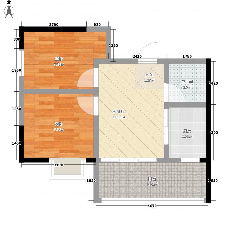 金洲城2室1厅1卫1厨55.00㎡户型图