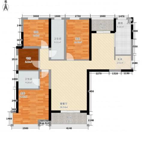 中铁万和城4室1厅2卫1厨125.00㎡户型图