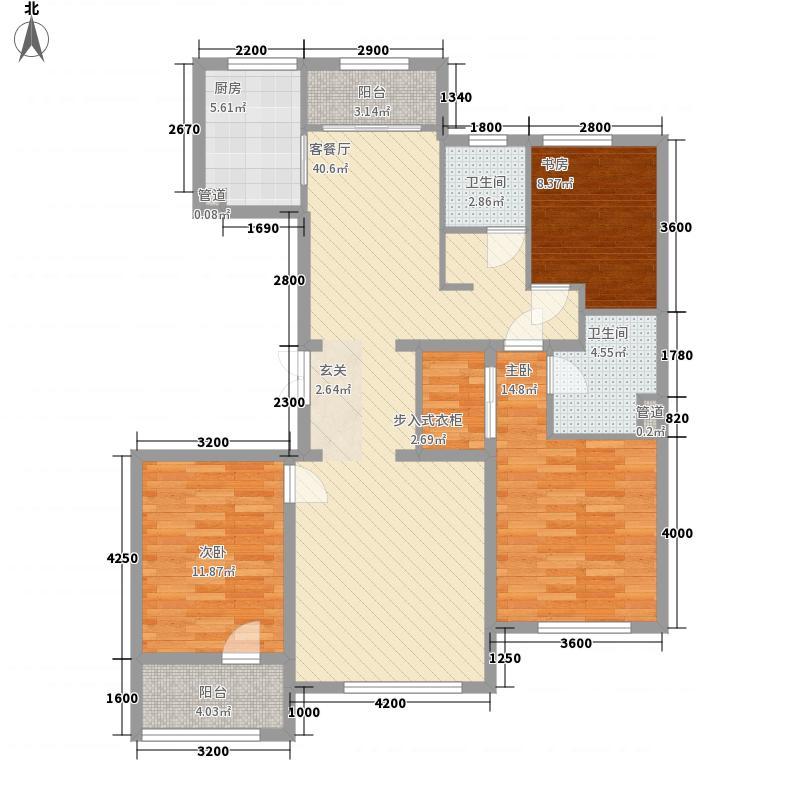 中景・香颂金街136.60㎡二期10#楼C2户型3室2厅2卫1厨