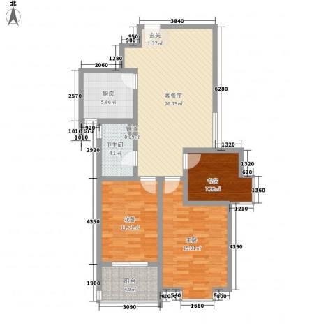 绿园爱舍3室1厅1卫1厨110.00㎡户型图