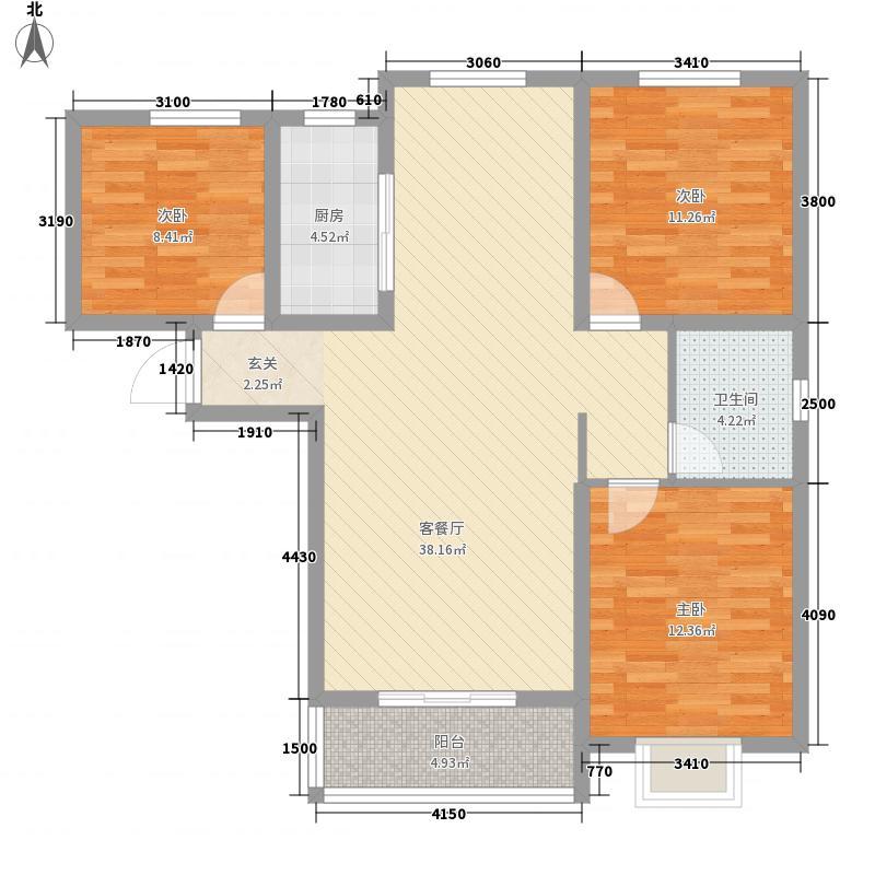 欧景湾3室1厅1卫1厨83.88㎡户型图