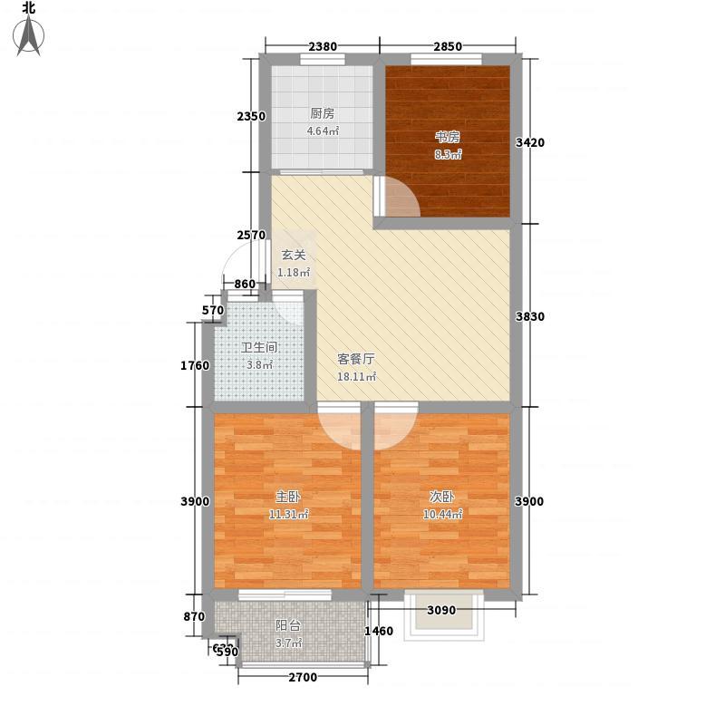 欣泰世纪城3室1厅1卫1厨88.00㎡户型图