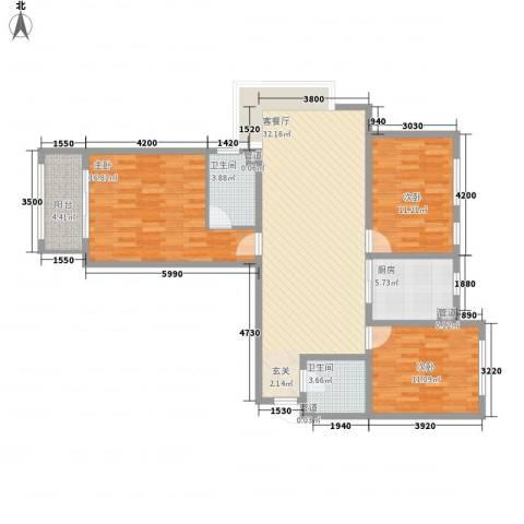 山海景湾3室1厅2卫1厨118.00㎡户型图