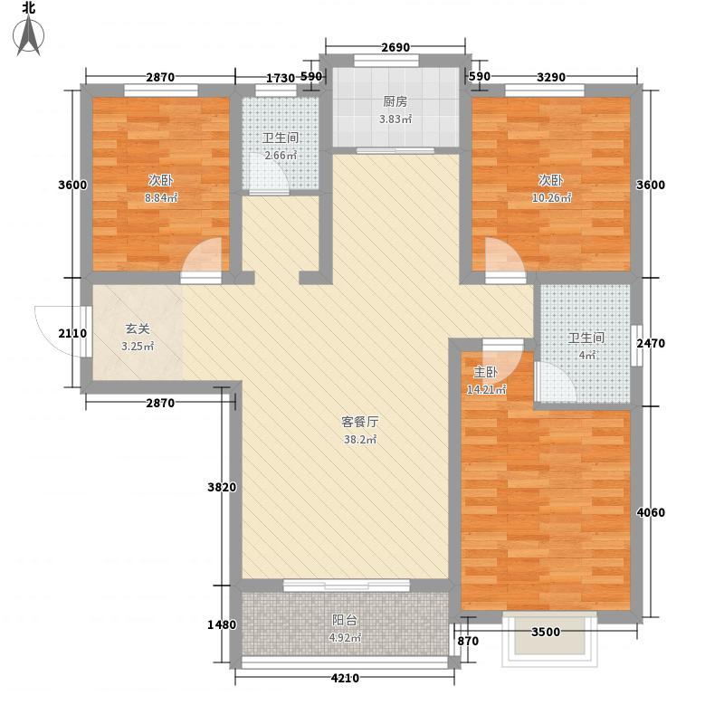 欧景湾127.45㎡J户型3室2厅2卫1厨