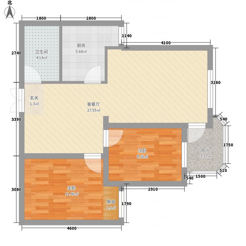 浅水湾畔2室1厅1卫1厨86.00㎡户型图