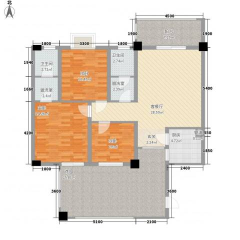 城市花园3室1厅2卫1厨154.00㎡户型图