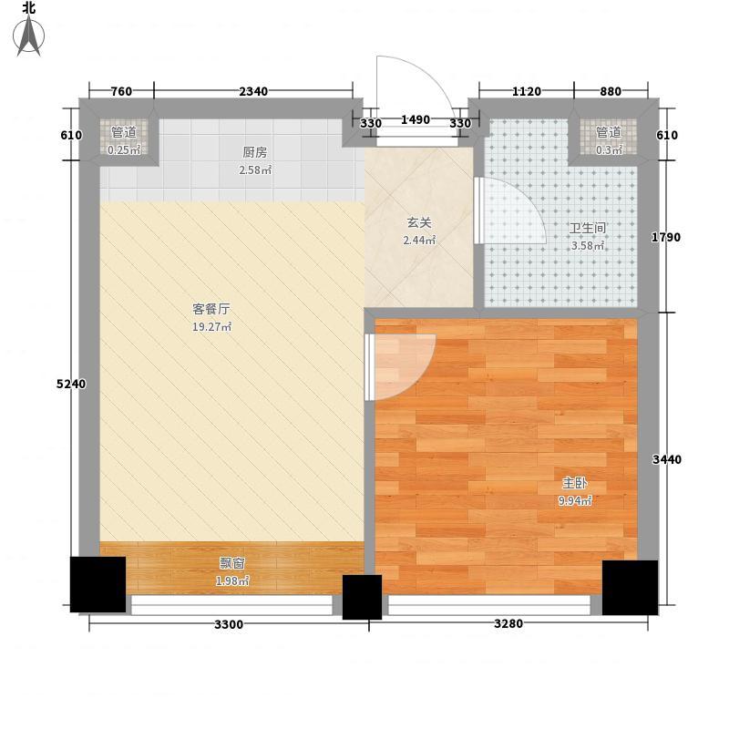 锦里1室1厅1卫0厨53.00㎡户型图