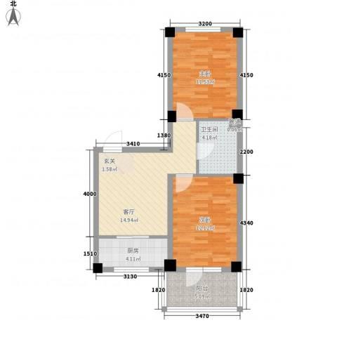 缇香漫城2室1厅1卫1厨52.02㎡户型图