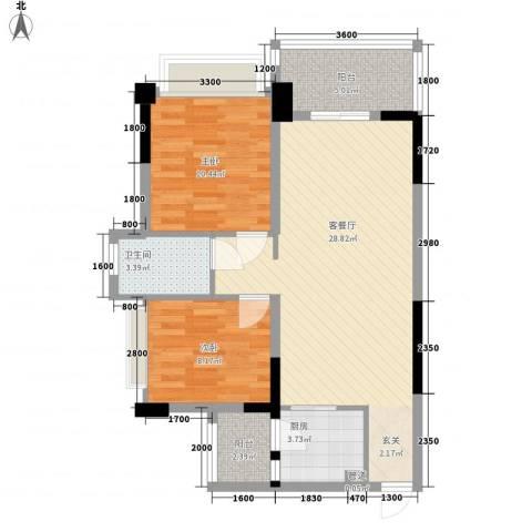 正德天水湖2室1厅1卫1厨77.00㎡户型图