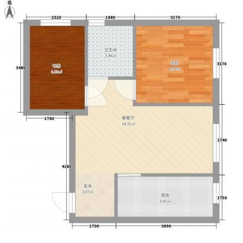 其仕盛和祥2室1厅1卫1厨61.00㎡户型图