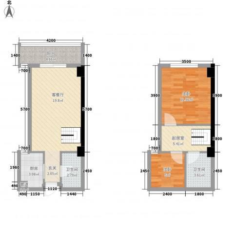 丹霞柠檬郡2室1厅2卫1厨82.00㎡户型图
