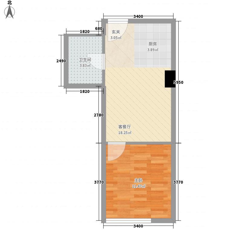润扬新城1室1厅1卫0厨49.00㎡户型图