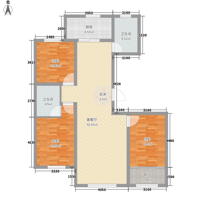青云丹桂园3室1厅2卫1厨142.00㎡户型图
