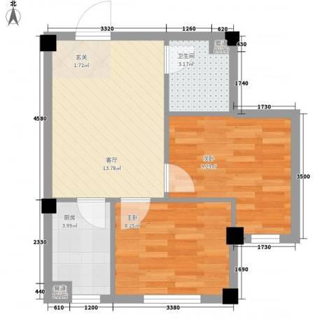 缇香漫城2室1厅1卫1厨38.69㎡户型图