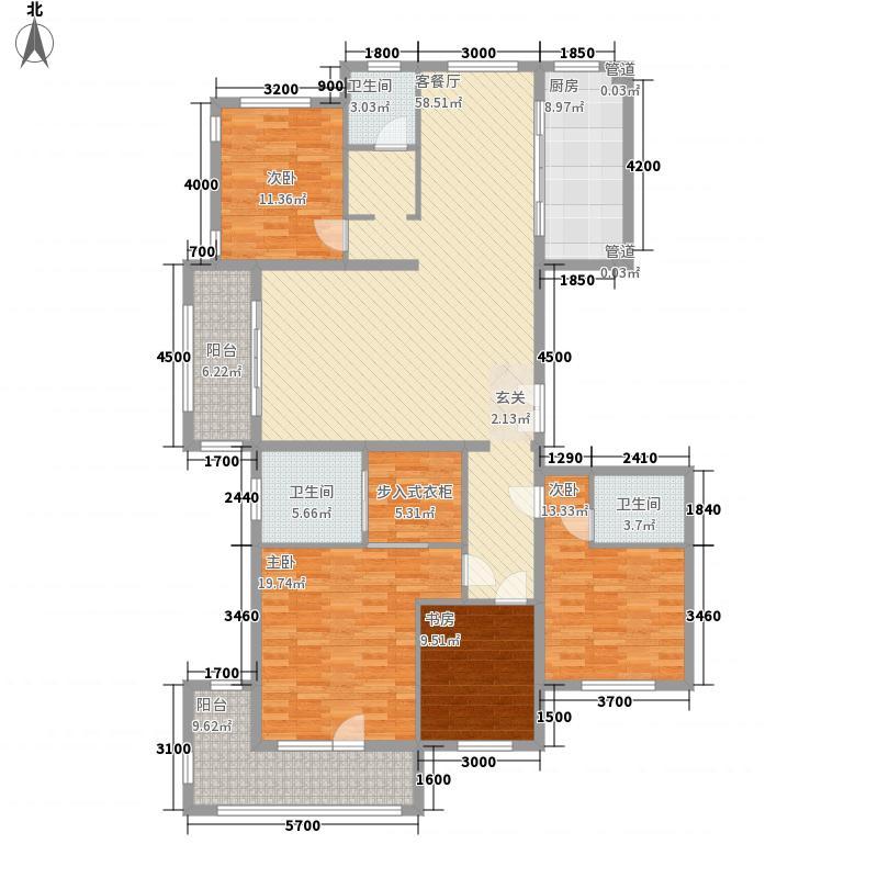 中景・香颂金街4室1厅3卫1厨155.00㎡户型图
