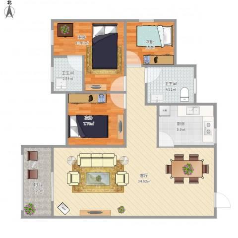 泰安花园3室1厅2卫1厨103.00㎡户型图