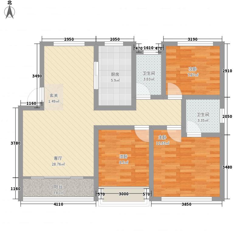 滨江豪庭3室1厅2卫1厨108.00㎡户型图
