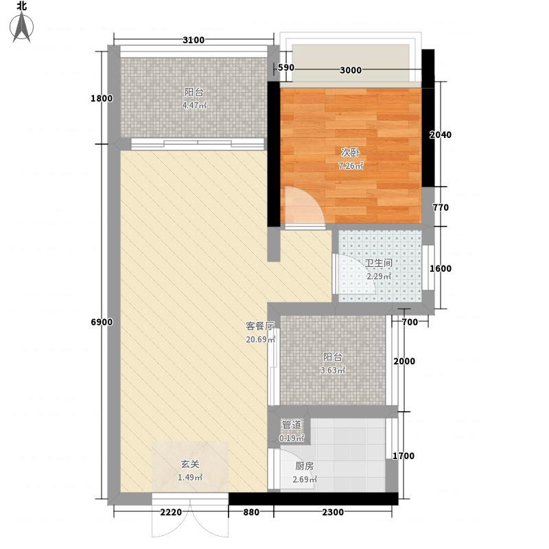 英之皇・中心城1室1厅1卫1厨56.00㎡户型图