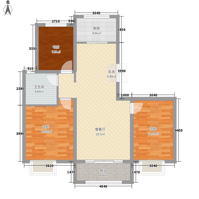 中交中央公元二期B户型3室2厅1卫1厨