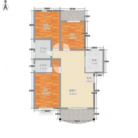 望京人文3室1厅2卫1厨151.00㎡户型图