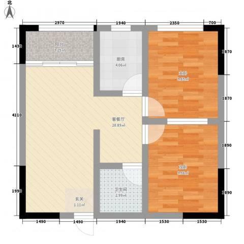 金洲城2室1厅1卫1厨60.00㎡户型图