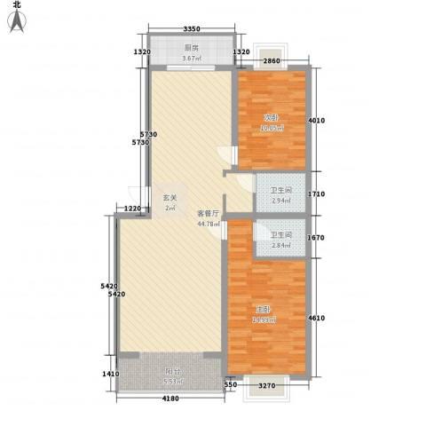 恒富安花园2室1厅2卫1厨113.00㎡户型图