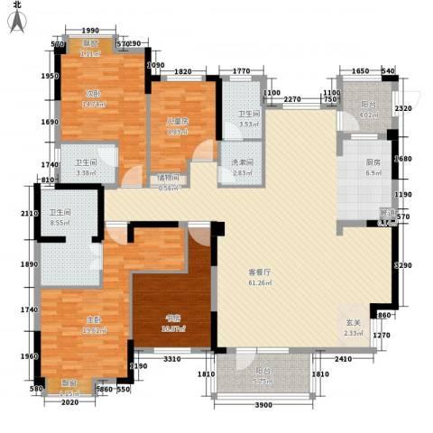 王家湾中央生活区4室1厅3卫0厨144.14㎡户型图