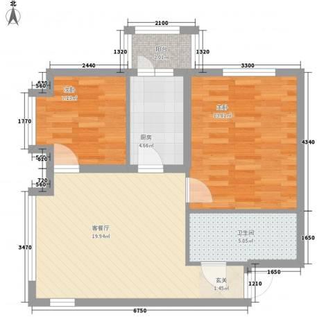 市政小区2室1厅1卫1厨75.00㎡户型图