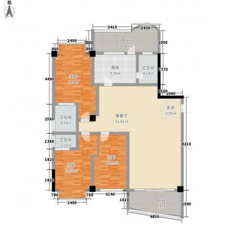 世纪嘉园3室1厅3卫1厨195.00㎡户型图